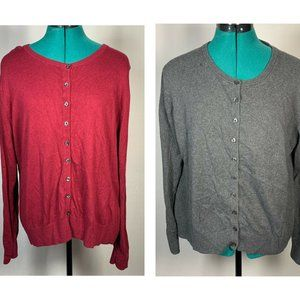 Old Navy Cardigans Size XL Lot Of 2 Gray & Red